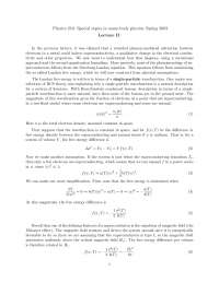 Many Body Physics 2, Lecture Notes - Physics