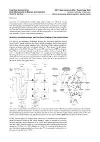 Cognitive Neuroscience-2004 Lecture Handout 02-Psychology