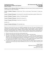 Cognitive Neuroscience-2003 Lecture Schedule-Psychology