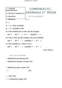 Appunti di Ripasso di Economia  Aziendale