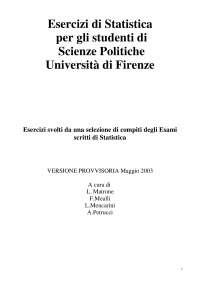 Esercizi di statistica per Scienze Politiche