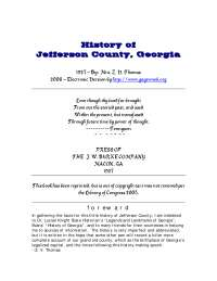 History of Jefferson County, Georgia - Lecture Note - American History - Mrs. Z.V. Thomas