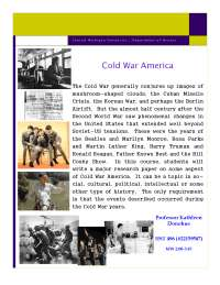 Cold War America - Lecture Note - American History - Kathleen Donohue