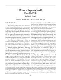 History Repeats Itself. [June 16, 1918] - Lecture Note - American History - Sam J. French
