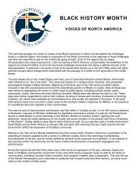 BLACK HISTORY MONTH VOICES OF NORTH AMERICA - Lecture Note - American History - Jim Shreve