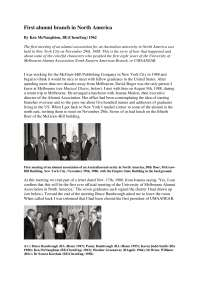 First alumni branch in North America - Lecture Note - American History - Ken McNaughton