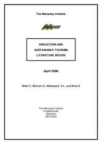 Indicators And Sustainable Tourism - literature review - Lecture Notes - English literature