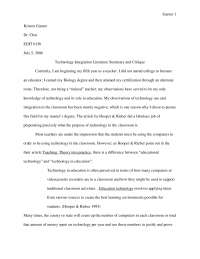 Technology Integration Literature Summary and Critique - Lecturer Notes - United State Literature - Kristen Garner