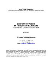 Guide To Advising In Honours Philosophy -  Lecture Notes - United Kingdom Philosophy - Sarah Broadie
