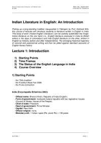 Indian Literature in English - Lecture Notes - Indian Literature - Prof. DR. C. Reinfandt