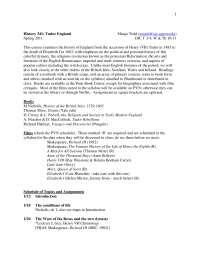 History 341 Tudor England - Lecture Note - United Kingdom History - Margo Todd