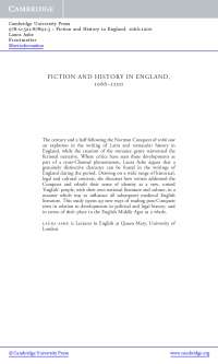 Fiction and History in England - Lecturer Notes - United Kingdom History - Laura Ashe