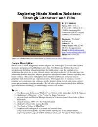 """Exploring Hindu-Muslim Relations Through Literature and Film - Book Summary - Indian Literature - Dr. Lola"""" Williamson"""
