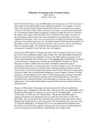 Philosophy of Language in the Twentieth Century - Book Summary - United State Philosophy - Jason Stanley