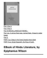 Hindu Literature -  Book Summary - Indian Literature - Epiphanius Wilson
