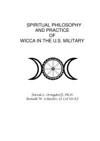 Spiritual  Philosophy And Practice Of Wicca In The U.S. Military - Book Summary - United States Philosophy - David L. Oringderff