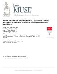 Ancient Irrigation and Buddhist History in Central India