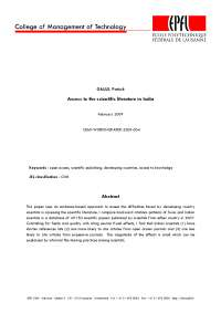 Access to the scientific literature in India