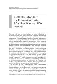Meat-Eating, Masculinity, and Renunciation in India A Gandhian Grammar of Diet - Essay - Indian History - Parama Roy