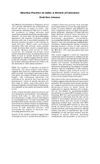 Abortion Practice in India -  Book Summary - Indian Literature - Heidi Bart Johnston