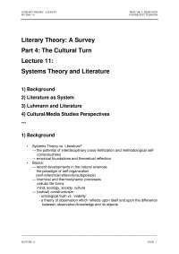 Literary Theory-Lecture 11 Notes-Literature