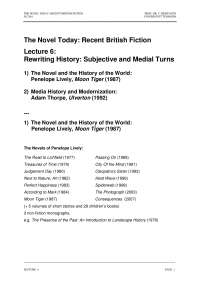 The Novel Today (Recent British Fiction)-Lecture 06 Notes-Literature