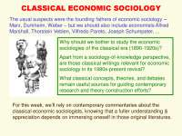 CLASSICAL ECONOMIC SOCIOLOGY-Lecture-Sociology