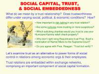 Social Capital, Trust ad Social Embeddedness-Economic Sociology-Lecture-Sociology