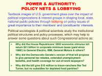 Power and Authority Policy Nets and Lobbying-Social Network Analysis Theories and Analysis-Lecture-Sociology
