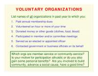 Voluntary Organizations-ORGANIZATIONS AND SOCIETY-Lecture-Sociology