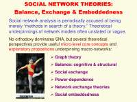 Network Theories Balance, Exchange and Embeddedness-Social Network Analysis Theories and Analysis-Lecture-Sociology