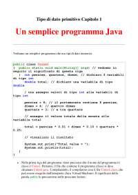 Introduzione alla Programmazione Java