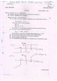 Advanced Control Systems - Exam Paper Dec 2009 - Instrumentation Engineering - 7th Semester