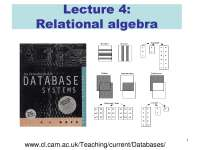 Relational Algebra-Databases-Lecture 04 Slides-Computer Science