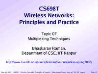 Multiplexing Techniques-Wireless Networking-Lecture 07 Slides-Computer Science Engineering