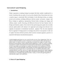 Global Financial Market  -  International Capital Budgeting  -  Notes  -  Finance