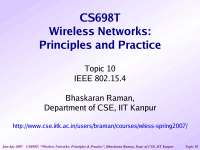 Personal Area Network-Wireless Networking-Lecture 10 Slides-Computer Science Engineering