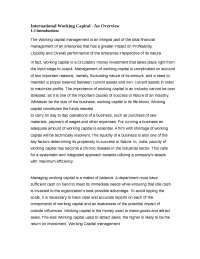 Global Financial Market  -  International Working Capital  -  Notes  -  Finance