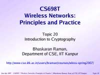 Cryptography and Network Security-Wireless Networking-Lecture 20 Slides-Computer Science Engineering