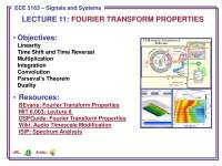 Signals and Systems-Lecture 11 Slides-Electrical and Computer Engineering