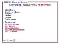 Systems-Signals and Systems-Lecture 03 Slides-Electrical and Computer Engineering