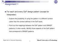 Gof Design Pattern-Patterns in Software Engineering-Assignment 1-Computer Engineering-Raman Ramsin