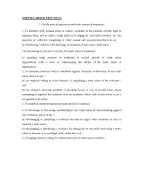 Employee Legislation - UNFAIR LABOUR PRACTICES - Notes - Business Management