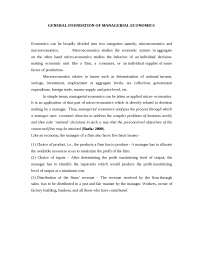 Economics - Managerial Economics- Introduction - Notes - Economics