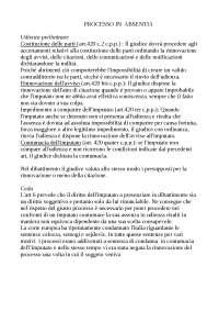 Dispensa sul Processo in Absentia, diritto processuale penale