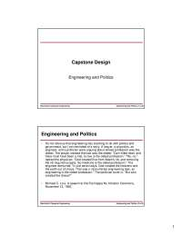 Politics-Capstone Design-Lecture 19 Slides-Electrical and Computer Engineering