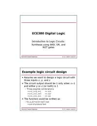 Logic Circuits-Digital Logic-Lecture 04 Slides-Electrical and Computer Engineering