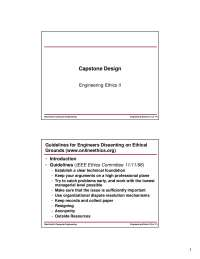 Ethics-Capstone Design-Lecture 17 Slides-Electrical and Computer Engineering