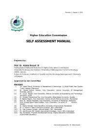 Self Assessment Manual - Higer Education Commission - NUST