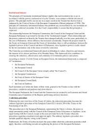 Istitutional balance - European Law